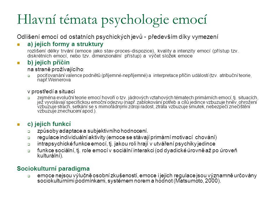 Hlavní témata psychologie emocí Odlišení emocí od ostatních psychických jevů - především díky vymezení a) jejich formy a struktury rozlišení délky trvání (emoce jako stav-proces-dispozice), kvality a intenzity emocí (přístup tzv.