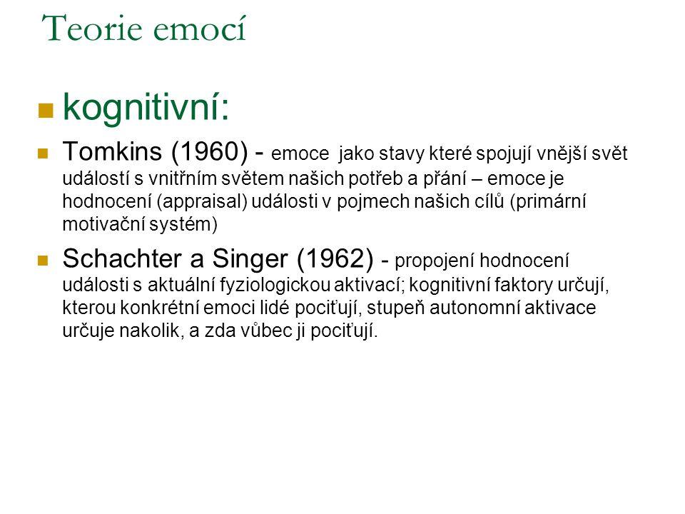 Teorie emocí kognitivní: Tomkins (1960) - emoce jako stavy které spojují vnější svět událostí s vnitřním světem našich potřeb a přání – emoce je hodnocení (appraisal) události v pojmech našich cílů (primární motivační systém) Schachter a Singer (1962) - propojení hodnocení události s aktuální fyziologickou aktivací; kognitivní faktory určují, kterou konkrétní emoci lidé pociťují, stupeň autonomní aktivace určuje nakolik, a zda vůbec ji pociťují.