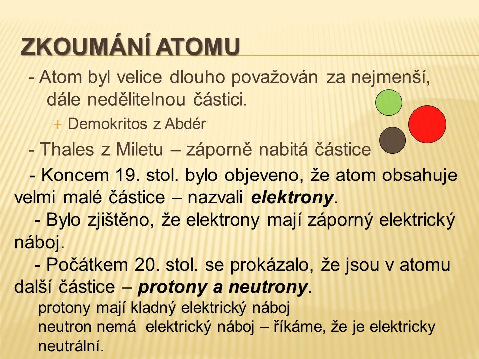 ZKOUMÁNÍ ATOMU - Atom byl velice dlouho považován za nejmenší, dále nedělitelnou částici.  Demokritos z Abdér - Thales z Miletu – záporně nabitá část