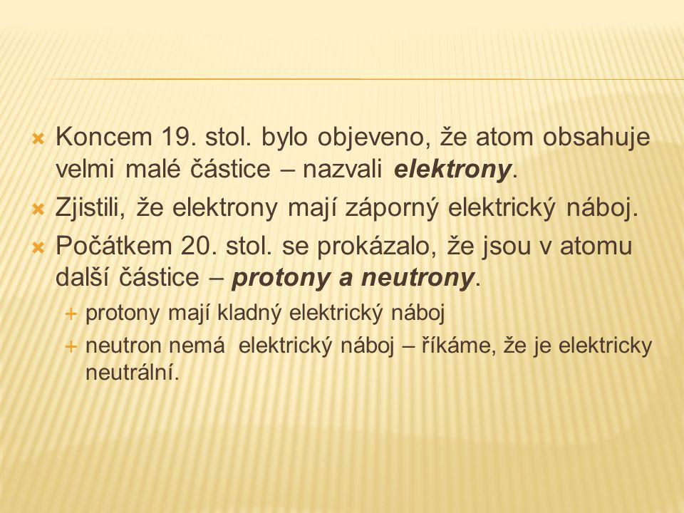  Koncem 19. stol. bylo objeveno, že atom obsahuje velmi malé částice – nazvali elektrony.  Zjistili, že elektrony mají záporný elektrický náboj.  P
