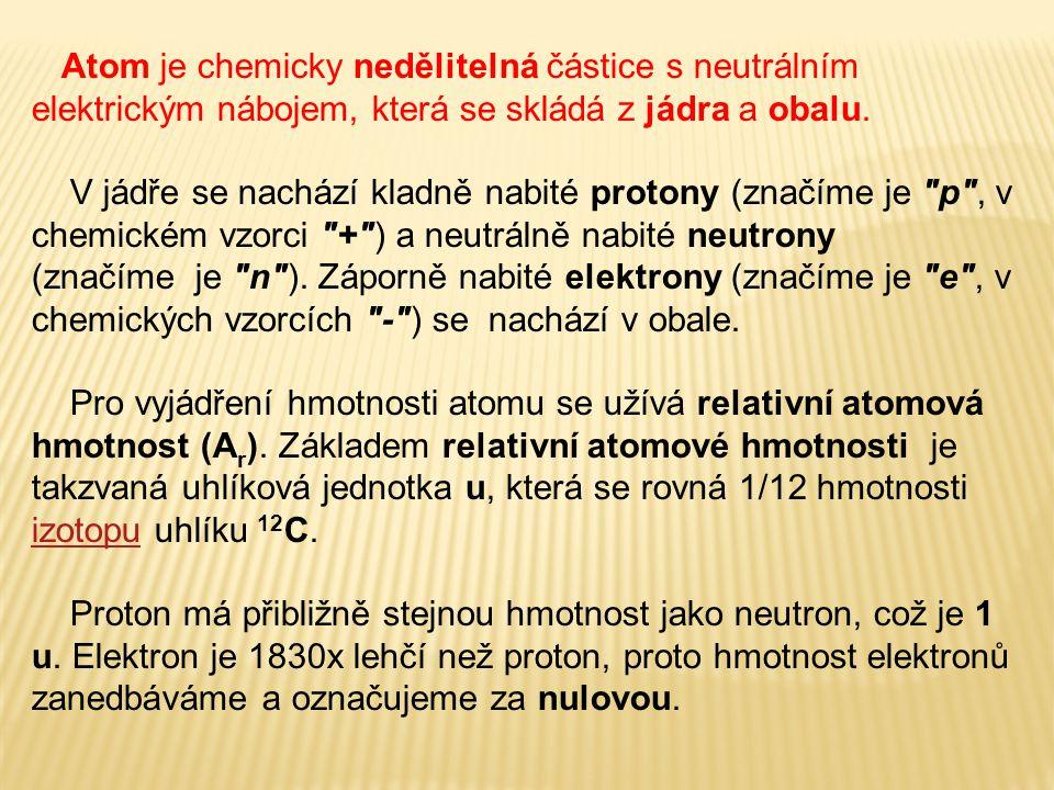 Atom je chemicky nedělitelná částice s neutrálním elektrickým nábojem, která se skládá z jádra a obalu. V jádře se nachází kladně nabité protony (znač