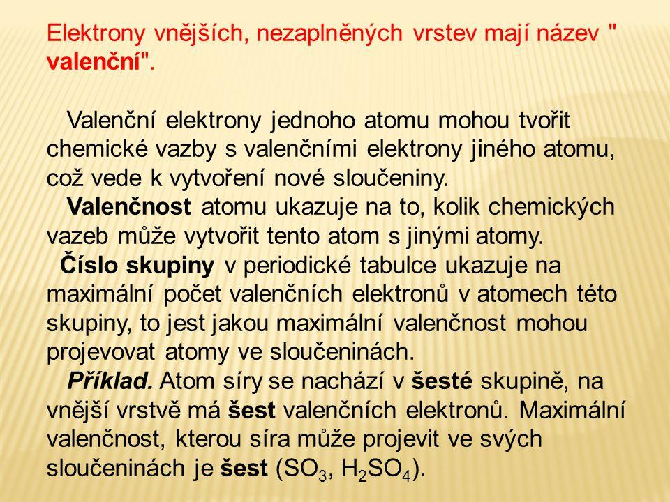 Elektrony vnějších, nezaplněných vrstev mají název