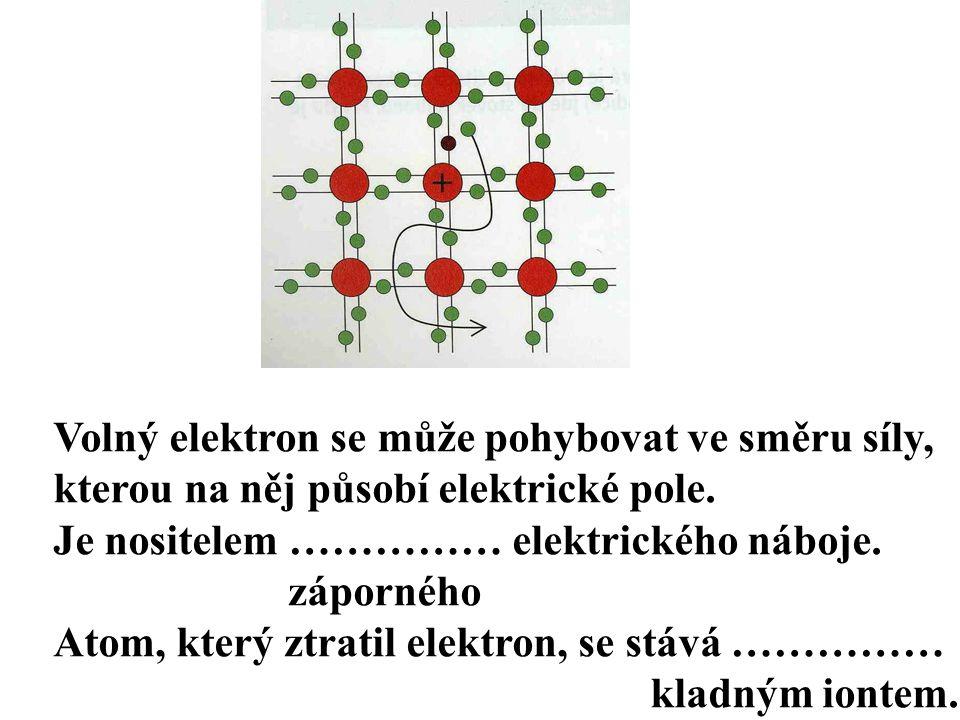 Volný elektron se může pohybovat ve směru síly, kterou na něj působí elektrické pole.