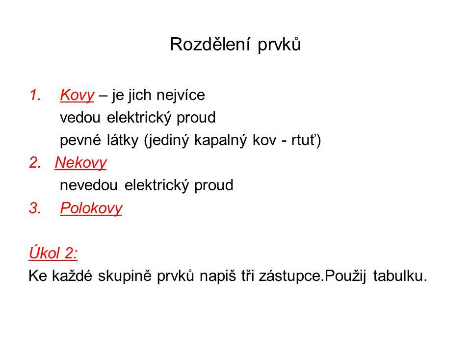 Rozdělení prvků 1.Kovy – je jich nejvíce vedou elektrický proud pevné látky (jediný kapalný kov - rtuť) 2.