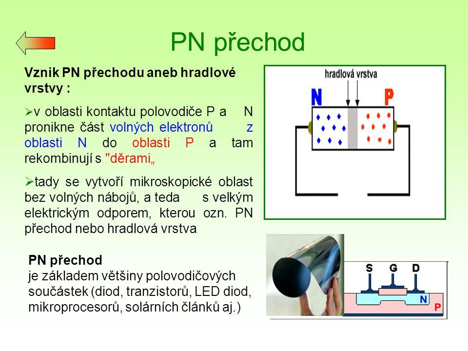 Polovodičová dioda Diodový jev : Při zapojení diody ke zdroji stejnosměrného napětí se projeví její usměrňovací účinek – při jedné její orientaci diodou proud prochází ( zapojení v tzv.