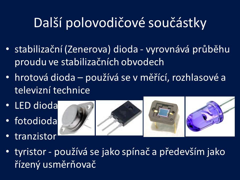 Další polovodičové součástky stabilizační (Zenerova) dioda - vyrovnává průběhu proudu ve stabilizačních obvodech hrotová dioda – používá se v měřící,