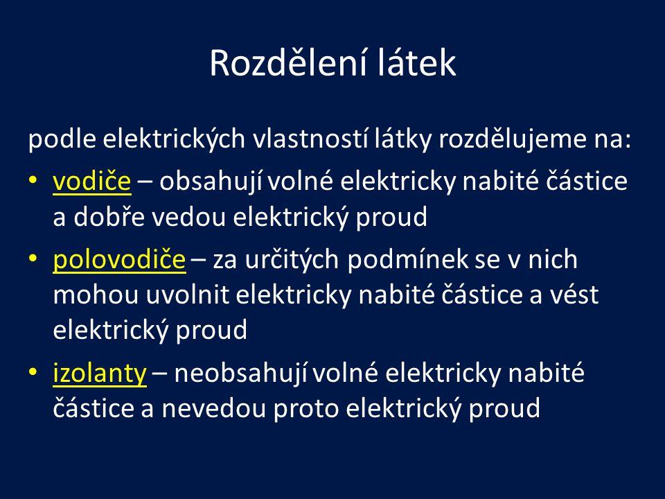 Rozdělení látek podle elektrických vlastností látky rozdělujeme na: vodiče – obsahují volné elektricky nabité částice a dobře vedou elektrický proud p