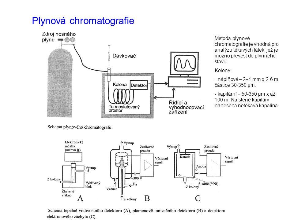 Plynová chromatografie Metoda plynové chromatografie je vhodná pro analýzu těkavých látek, jež je možno převést do plynného stavu. Kolony: - náplňové