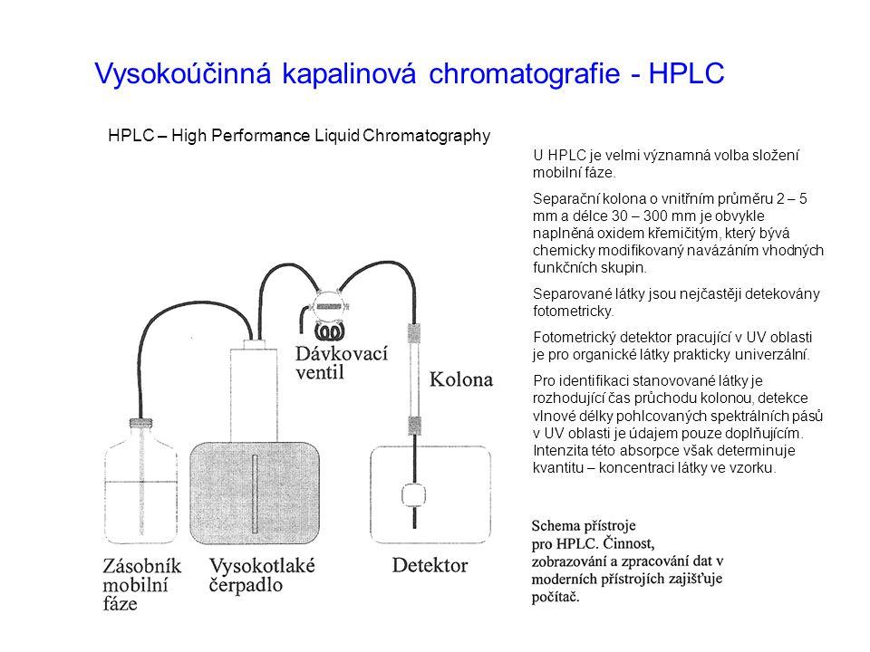 Vysokoúčinná kapalinová chromatografie - HPLC HPLC – High Performance Liquid Chromatography U HPLC je velmi významná volba složení mobilní fáze. Separ