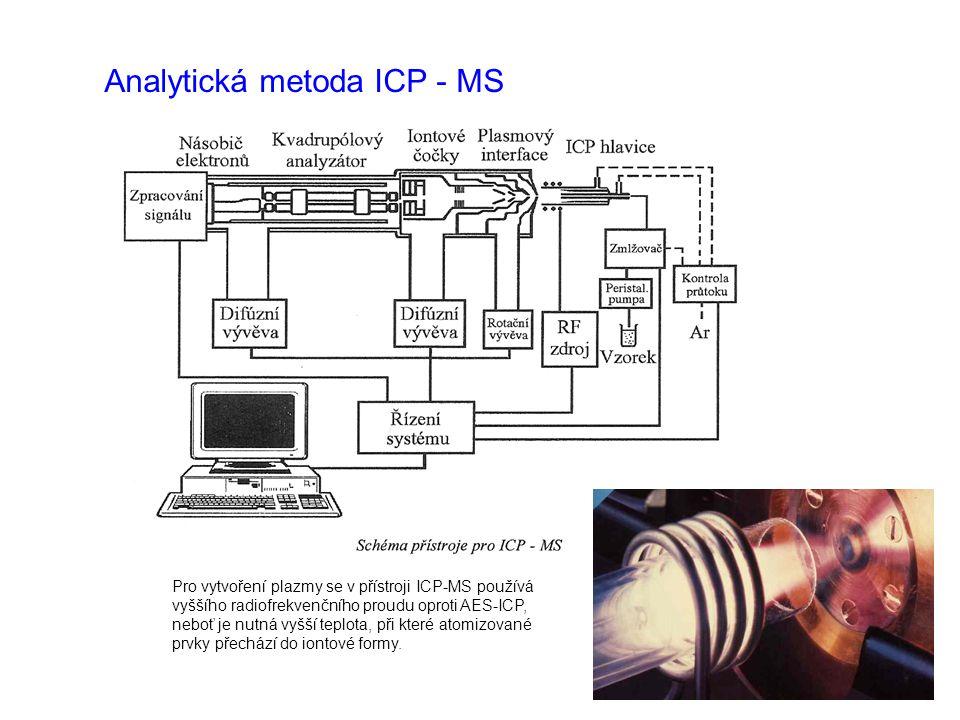Analytická metoda ICP - MS Pro vytvoření plazmy se v přístroji ICP-MS používá vyššího radiofrekvenčního proudu oproti AES-ICP, neboť je nutná vyšší te