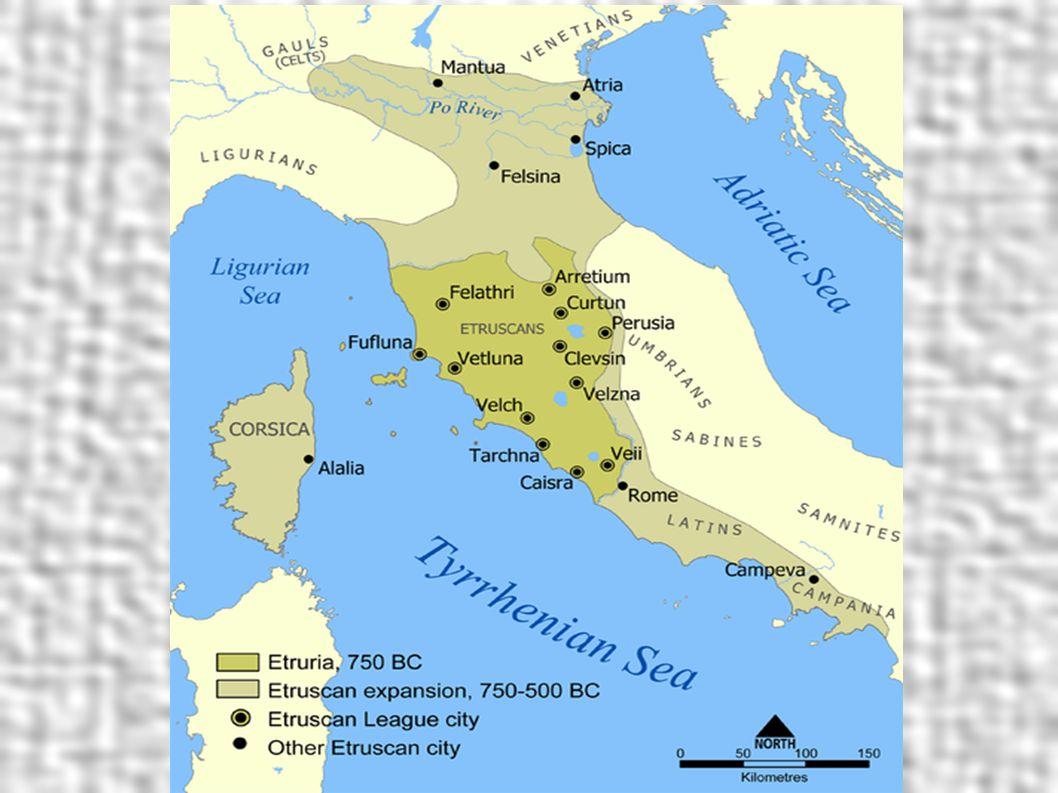 Etruskové Tajemný národ – jazyk stále nerozluštěn, vyspělé náboženství Žili v městských státech Spojovací článek mezi uměním řeckým a římským