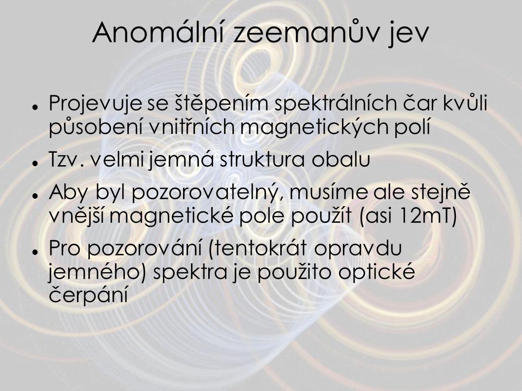 Anomální zeemanův jev Projevuje se štěpením spektrálních čar kvůli působení vnitřních magnetických polí Tzv. velmi jemná struktura obalu Aby byl pozor