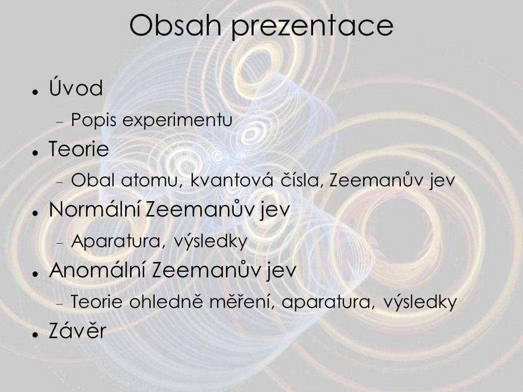 Obsah prezentace Úvod  Popis experimentu Teorie  Obal atomu, kvantová čísla, Zeemanův jev Normální Zeemanův jev  Aparatura, výsledky Anomální Zeema