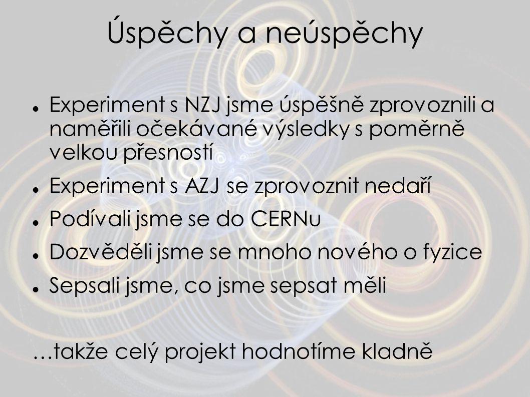 Úspěchy a neúspěchy Experiment s NZJ jsme úspěšně zprovoznili a naměřili očekávané výsledky s poměrně velkou přesností Experiment s AZJ se zprovoznit
