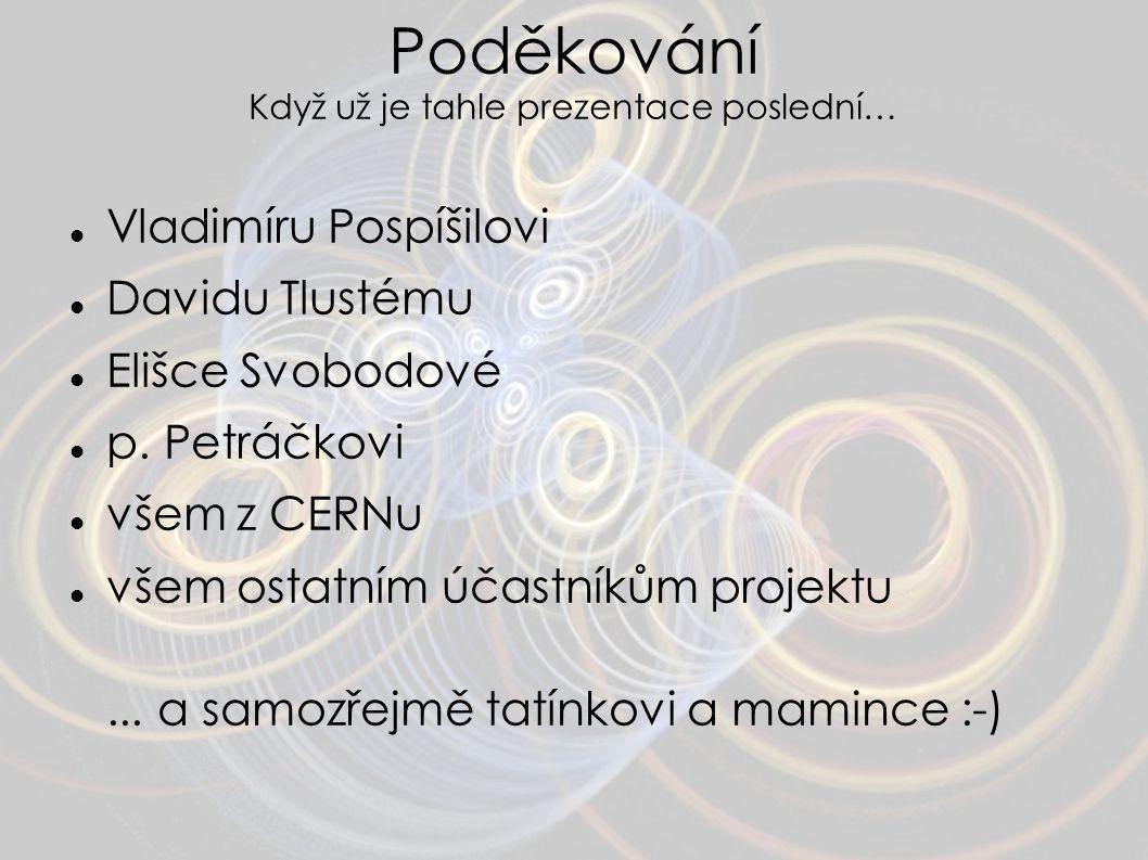 Poděkování Když už je tahle prezentace poslední… Vladimíru Pospíšilovi Davidu Tlustému Elišce Svobodové p. Petráčkovi všem z CERNu všem ostatním účast