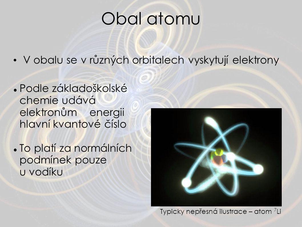 Obal atomu V obalu se v různých orbitalech vyskytují elektrony Typicky nepřesná ilustrace – atom 7 Li Podle základoškolské chemie udává elektronům ene