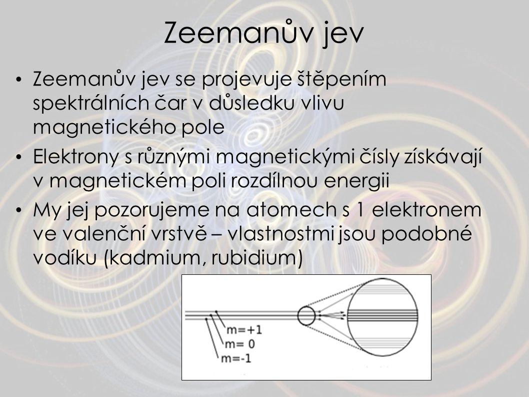 Zeemanův jev Zeemanův jev se projevuje štěpením spektrálních čar v důsledku vlivu magnetického pole Elektrony s různými magnetickými čísly získávají v