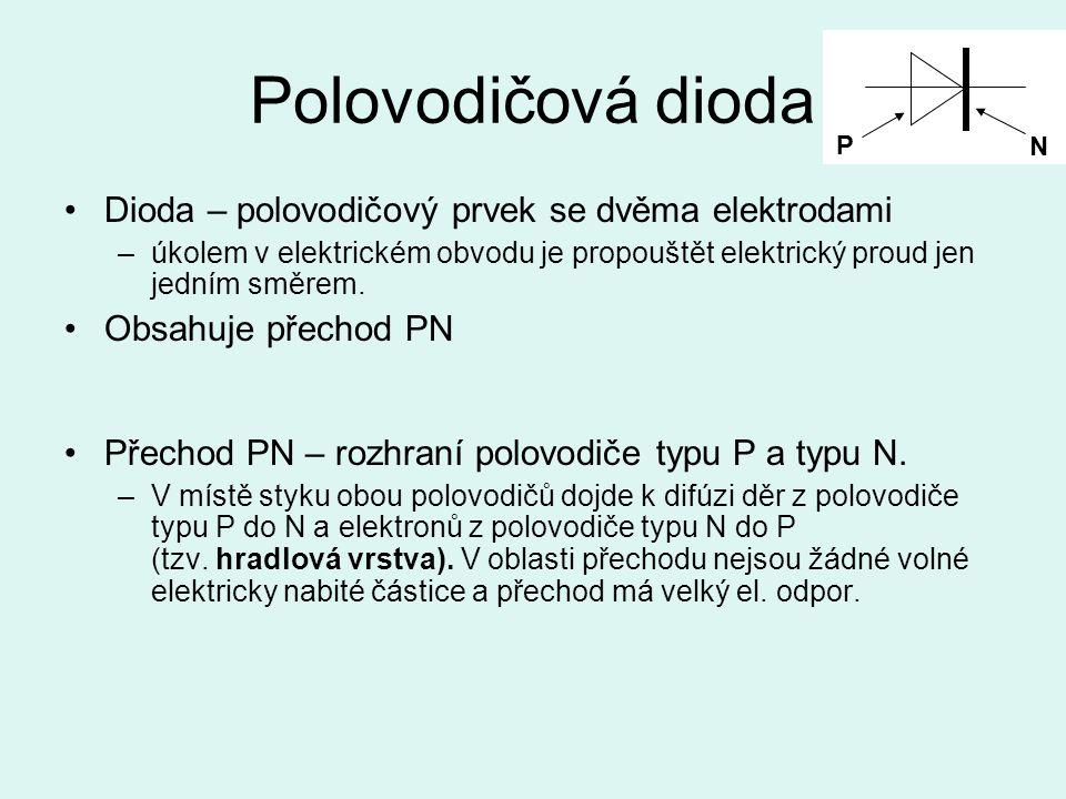 Polovodičová dioda Dioda – polovodičový prvek se dvěma elektrodami –úkolem v elektrickém obvodu je propouštět elektrický proud jen jedním směrem. Obsa