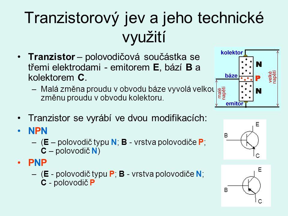 Tranzistorový jev a jeho technické využití Tranzistor – polovodičová součástka se třemi elektrodami - emitorem E, bází B a kolektorem C. –Malá změna p