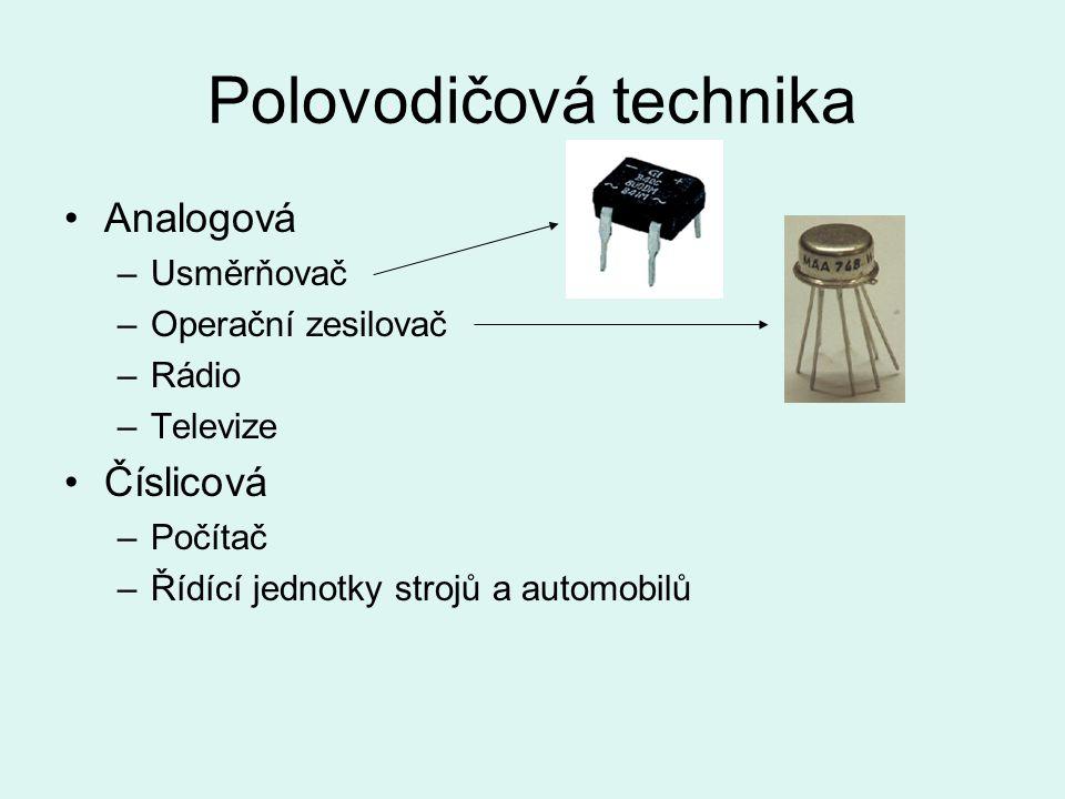 Polovodičová technika Analogová –Usměrňovač –Operační zesilovač –Rádio –Televize Číslicová –Počítač –Řídící jednotky strojů a automobilů