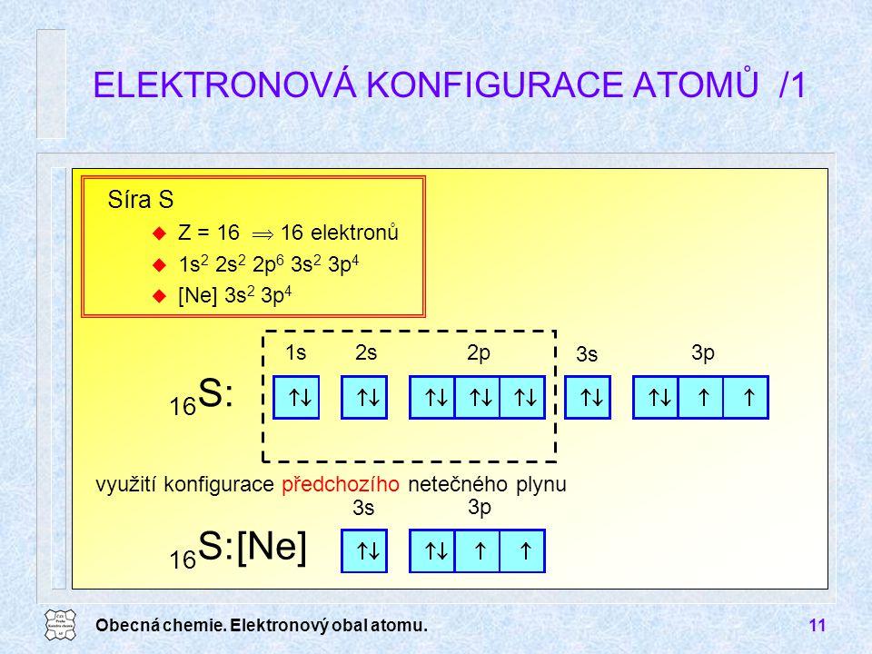 Obecná chemie. Elektronový obal atomu.11 využití konfigurace předchozího netečného plynu ELEKTRONOVÁ KONFIGURACE ATOMŮ /1 Síra S u Z = 16  16 elektro
