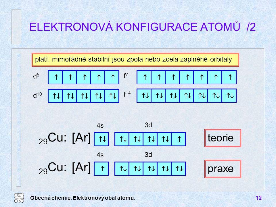 Obecná chemie. Elektronový obal atomu.12 ELEKTRONOVÁ KONFIGURACE ATOMŮ /2 platí: mimořádně stabilní jsou zpola nebo zcela zaplněné orbitaly teorie d5d