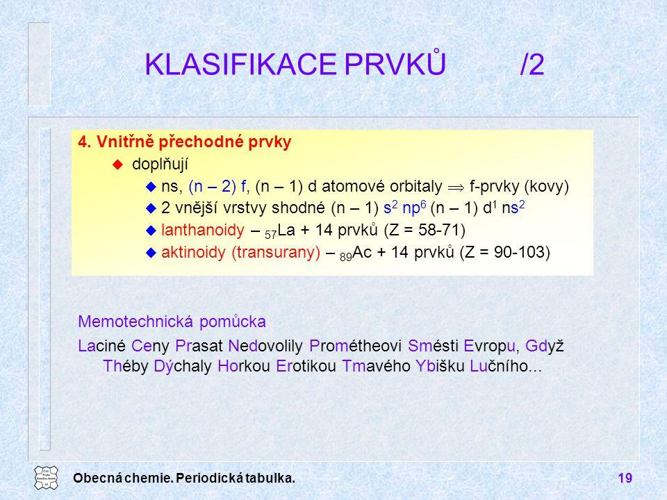 Obecná chemie. Periodická tabulka.19 4. Vnitřně přechodné prvky u doplňují u ns, (n – 2) f, (n – 1) d atomové orbitaly  f-prvky (kovy) u 2 vnější vrs
