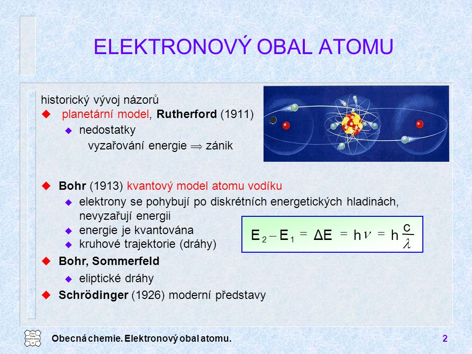 Obecná chemie. Elektronový obal atomu.2 u Bohr (1913) kvantový model atomu vodíku u elektrony se pohybují po diskrétních energetických hladinách, nevy