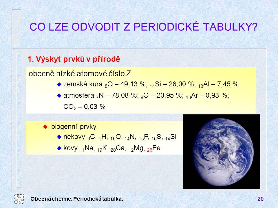 Obecná chemie. Periodická tabulka.20 obecně nízké atomové číslo Z u zemská kůra 8 O – 49,13 %; 14 Si – 26,00 %; 13 Al – 7,45 % u atmosféra 7 N – 78,08