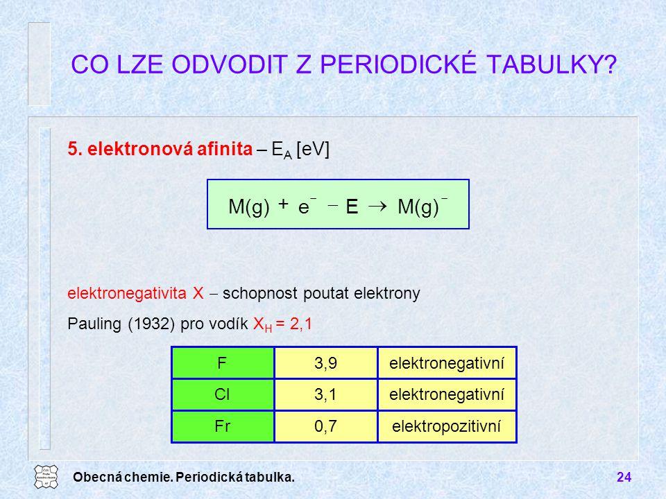 Obecná chemie. Periodická tabulka.24 CO LZE ODVODIT Z PERIODICKÉ TABULKY? 5. elektronová afinita – E A [eV]   + M(g)Ee elektronegativita X  schop