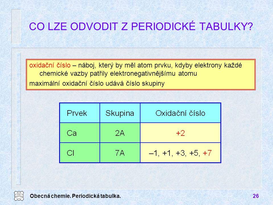 Obecná chemie. Periodická tabulka.26 CO LZE ODVODIT Z PERIODICKÉ TABULKY? oxidační číslo – náboj, který by měl atom prvku, kdyby elektrony každé chemi