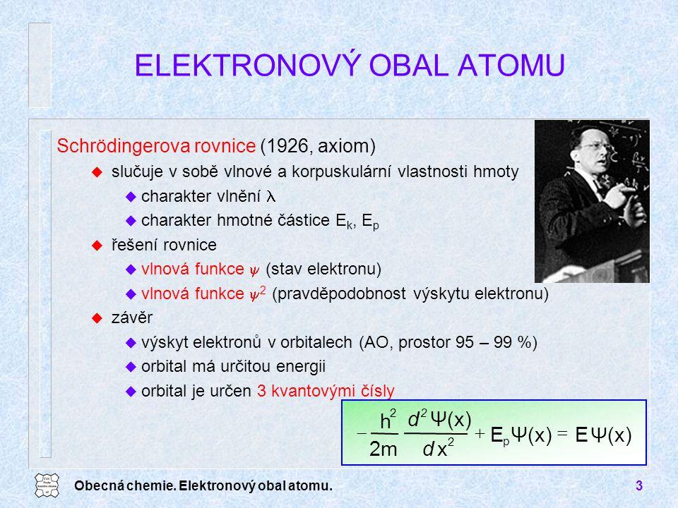 Obecná chemie. Elektronový obal atomu.3 ELEKTRONOVÝ OBAL ATOMU Schrödingerova rovnice (1926, axiom) u slučuje v sobě vlnové a korpuskulární vlastnosti