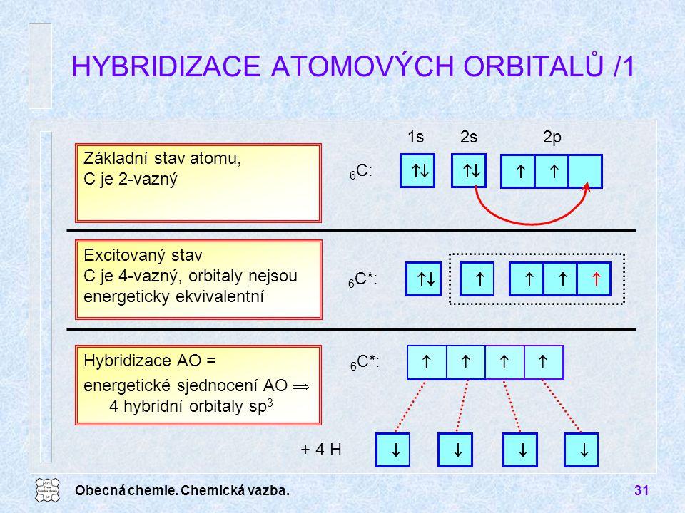 Obecná chemie. Chemická vazba.31 HYBRIDIZACE ATOMOVÝCH ORBITALŮ /1 Hybridizace AO = energetické sjednocení AO  4 hybridní orbitaly sp 3 1s2s2p 6 C: Z