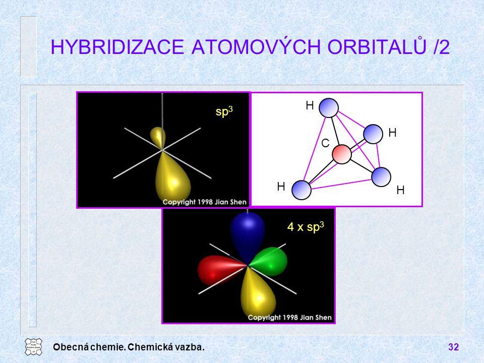 Obecná chemie. Chemická vazba.32 HYBRIDIZACE ATOMOVÝCH ORBITALŮ /2 H H H H C sp 3 4 x sp 3