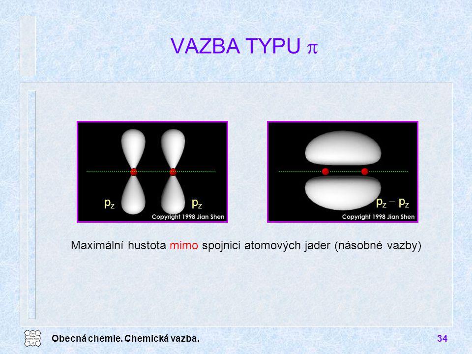 Obecná chemie. Chemická vazba.34 VAZBA TYPU  pzpz pzpz p z  p z Maximální hustota mimo spojnici atomových jader (násobné vazby)