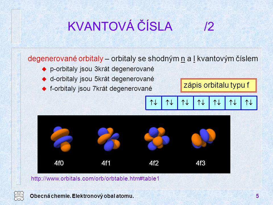 Obecná chemie. Elektronový obal atomu.5 KVANTOVÁ ČÍSLA /2 degenerované orbitaly – orbitaly se shodným n a l kvantovým číslem u p-orbitaly jsou 3krát d