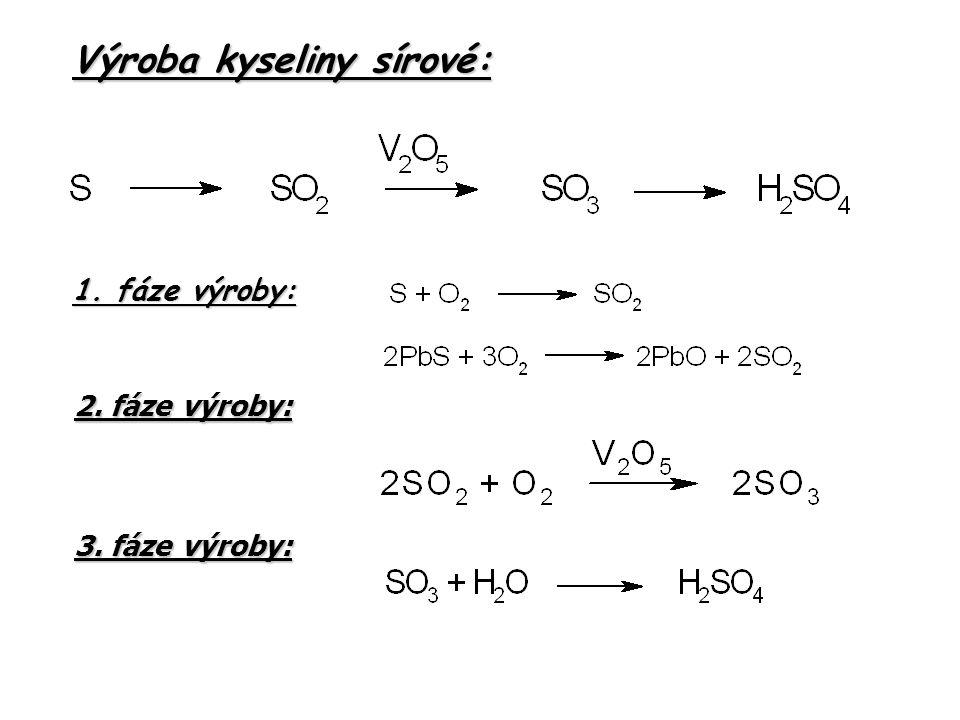 Výroba kyseliny sírové: 1. fáze výroby: 2. fáze výroby: 3. fáze výroby: