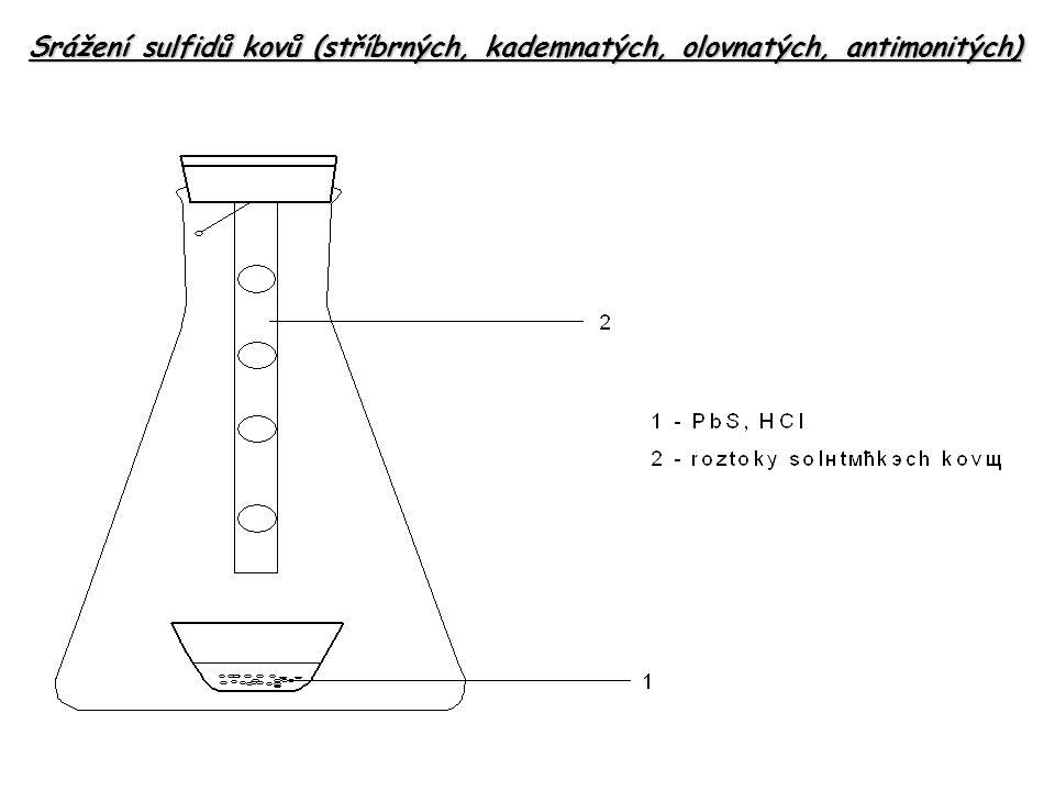 Srážení sulfidů kovů (stříbrných, kademnatých, olovnatých, antimonitých)