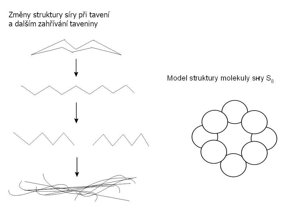 Změny struktury síry při tavení a dalším zahřívání taveniny