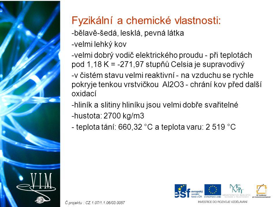 Č.projektu : CZ.1.07/1.1.06/03.0057 Fyzikální a chemické vlastnosti: -bělavě-šedá, lesklá, pevná látka -velmi lehký kov -velmi dobrý vodič elektrickéh