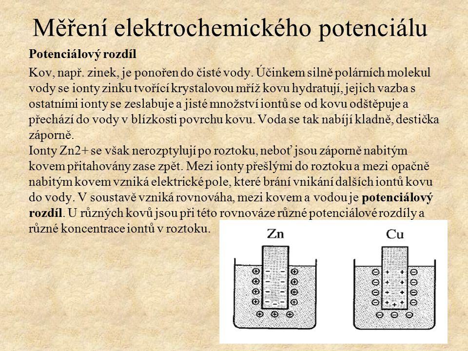 Potenciálový rozdíl Kov, např. zinek, je ponořen do čisté vody.