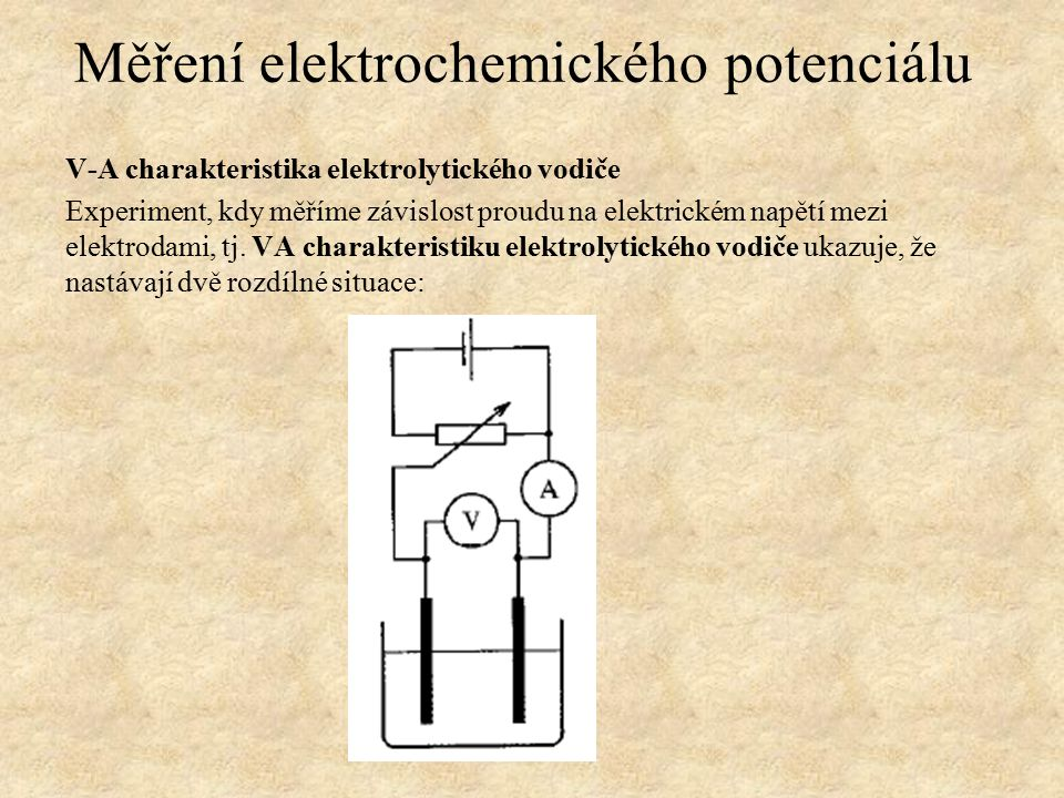 V-A charakteristika elektrolytického vodiče Experiment, kdy měříme závislost proudu na elektrickém napětí mezi elektrodami, tj.