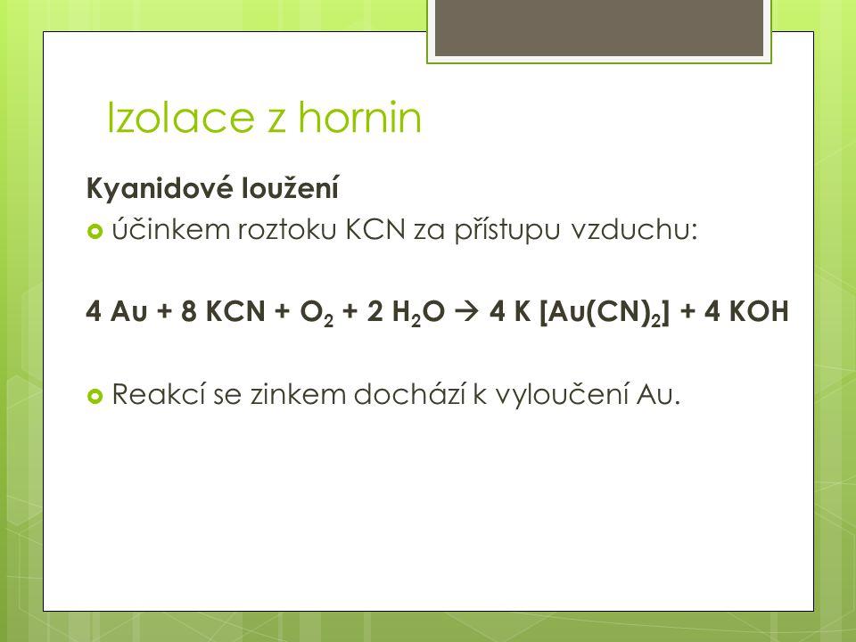 Izolace z hornin Kyanidové loužení  účinkem roztoku KCN za přístupu vzduchu: 4 Au + 8 KCN + O 2 + 2 H 2 O  4 K [Au(CN) 2 ] + 4 KOH  Reakcí se zinke