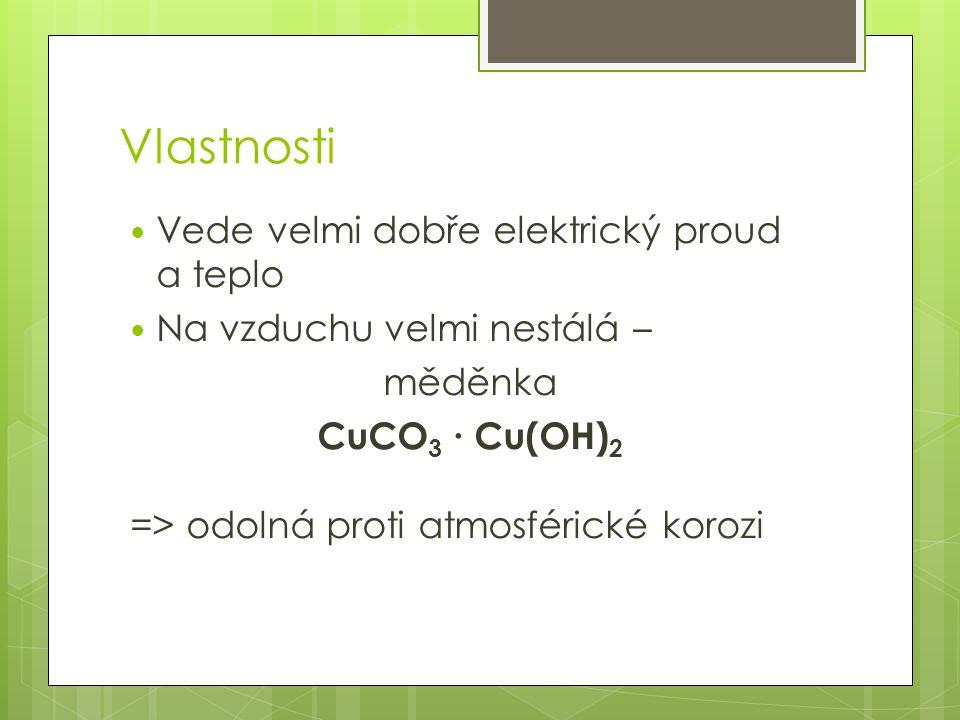 Vlastnosti Vede velmi dobře elektrický proud a teplo Na vzduchu velmi nestálá – měděnka CuCO 3 ∙ Cu(OH) 2 => odolná proti atmosférické korozi