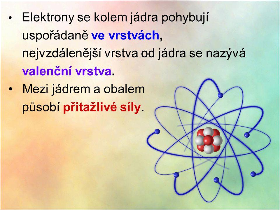 Elektrony se kolem jádra pohybují uspořádaně ve vrstvách, nejvzdálenější vrstva od jádra se nazývá valenční vrstva. Mezi jádrem a obalem působí přitaž
