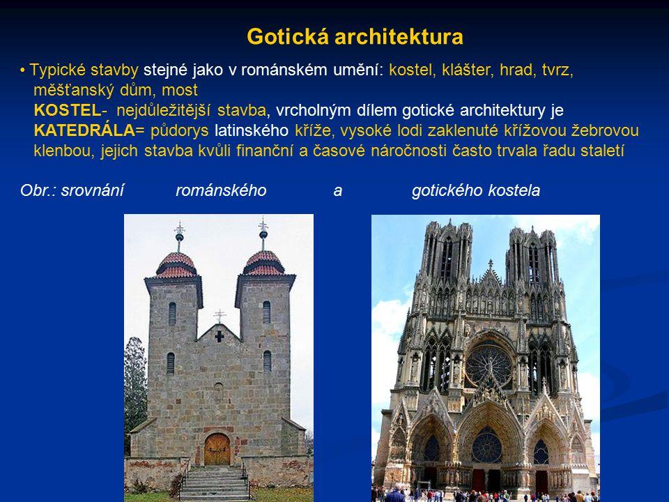 Gotická architektura Typické stavby stejné jako v románském umění: kostel, klášter, hrad, tvrz, měšťanský dům, most KOSTEL- nejdůležitější stavba, vrcholným dílem gotické architektury je KATEDRÁLA= půdorys latinského kříže, vysoké lodi zaklenuté křížovou žebrovou klenbou, jejich stavba kvůli finanční a časové náročnosti často trvala řadu staletí Obr.: srovnání románského a gotického kostela