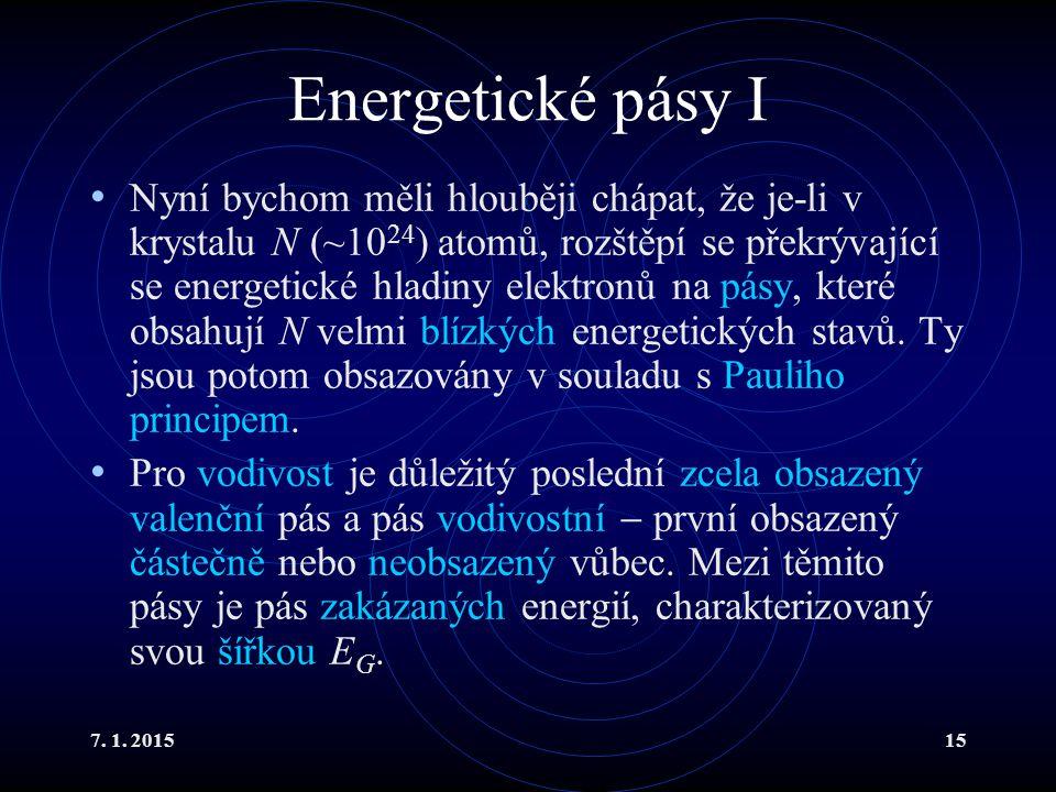 7. 1. 201515 Energetické pásy I Nyní bychom měli hlouběji chápat, že je-li v krystalu N (~10 24 ) atomů, rozštěpí se překrývající se energetické hladi