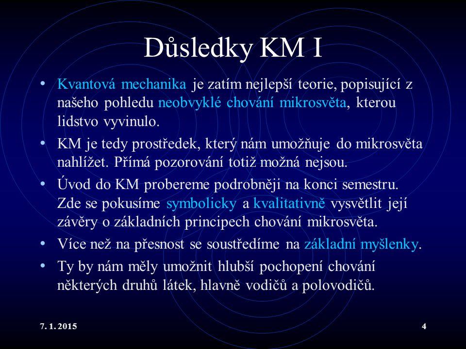 7. 1. 20154 Důsledky KM I Kvantová mechanika je zatím nejlepší teorie, popisující z našeho pohledu neobvyklé chování mikrosvěta, kterou lidstvo vyvinu