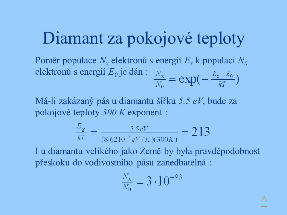 Diamant za pokojové teploty Má-li zakázaný pás u diamantu šířku 5.5 eV, bude za pokojové teploty 300 K exponent : Poměr populace N x elektronů s energ
