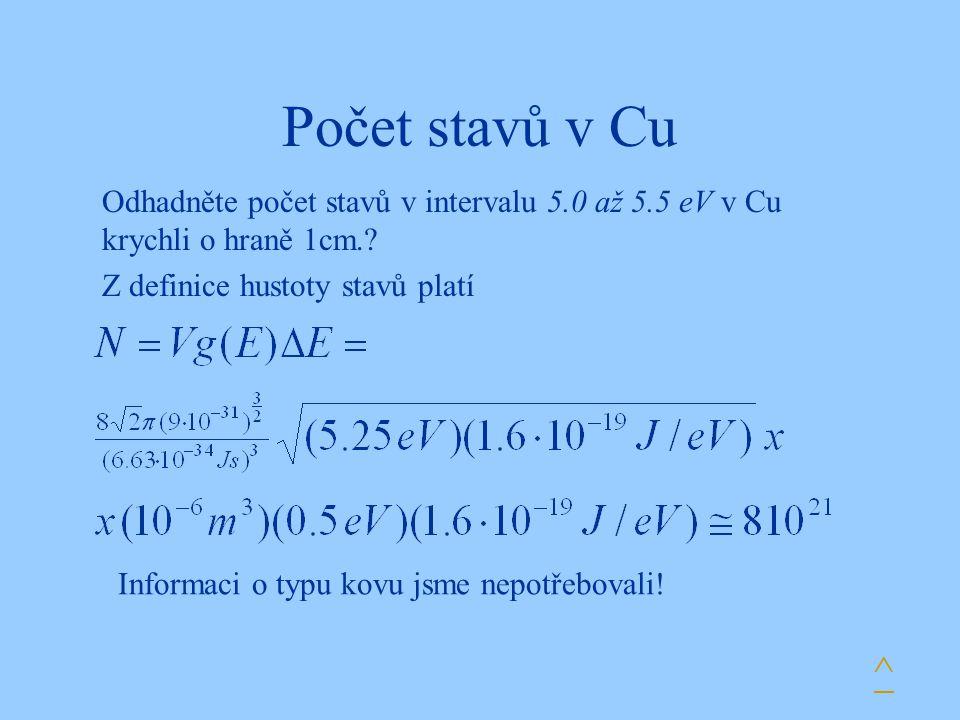 Počet stavů v Cu Odhadněte počet stavů v intervalu 5.0 až 5.5 eV v Cu krychli o hraně 1cm.? Z definice hustoty stavů platí Informaci o typu kovu jsme